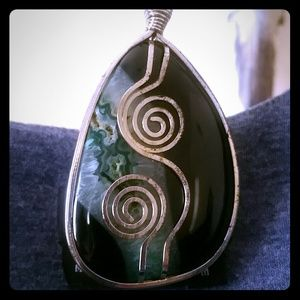 Jewelry - DEEP BLUE AGATE PENDANT